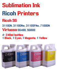 Dye Sublimation Ink  4 multi-color 240ml bottles - Ricoh Virtuoso printers