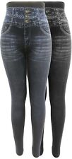 Leggings Jeansdruck 2er Set Jeggings eng anliegend hohe Taille hight waist 36-46