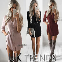 UK Womens Plain Shirt Ladies Long Sleeves Boyfriend Shirt Mini Dress Size 6-14