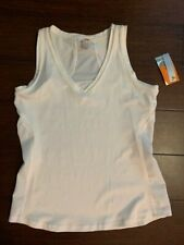 Lucy Interval Tank Workout Exercise Shirt Top V-Neck New White Size M