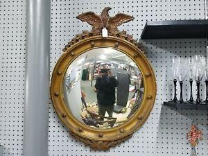 Antique Gilt Wood Carved Eagle Convex Bulls eye Federal Girandole