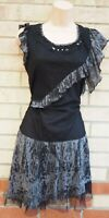 IZABEL BLACK GREY FISHNET RUFFLE FRILL LACE PUNK A LINE BOHEMIAN TEA DRESS 12 M