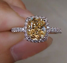 Size 6 Ladys Jewelry 925 Silver Cushion-cut Yellow Topaz CZ Paved Wedding Ring