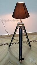 Vintage Tripod Floor Shade Lamp Chrome Black Color Stand Heavy Home Decor Lounge
