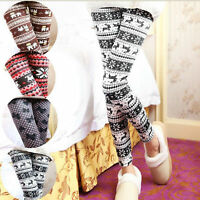 Fashion Womens XMAS Knitted Elastic Snowflake Reindeer Tights Pants Trousers