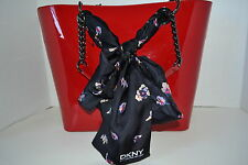 DKNY Patent  Scarf Bag Shopper  Tote Purse Handbag Sac  Sac Bolsa Väska NEW