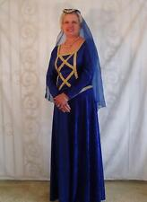Female Royal Blue Velvet Renaissance Gown & Hat - Med.!