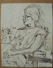 """""""SKETCH OF A SEATED WOMAN"""" by Ruth Freeman INK 12 1/4"""" X 15 1/4"""""""