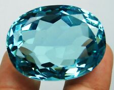 Natural 100.90 Ct Ocean Blue Aquamarine Oval Shape Loose Gemstone.