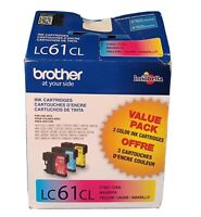 NEW GENUINE - BROTHER LC61CL COLOR INK CARTRIDGES - SEALED IN BOX 06/2021