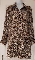 Womens Zara Long Sleeve Brown Animal Print Gathered A Line Shirt Dress Large New