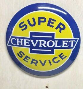 """SUPER CHEVY 17"""" ROUND DOME SIGN ~GARAGE MANCAVE CAR TRUCK CHEVROLET"""