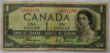 """1954 Canada 1 Dollar """"Devil's Face"""" Banknote P.66.a """"Coyne-Towers"""" SB3899"""