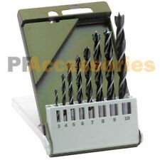 "8 Pcs Brad Point Drill Bit Set 1/8"" to 3/8"" Wood Boring 3mm-10mm Plastic w/ Case"