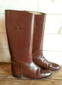 Vintage Cognac Genuine Leather Tall Riding Boots