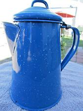 "VTG Blue Speckle Enamel Ware Hinged Lid 7.75"" Tall Coffee Pot -Farmhouse Decor-"