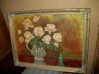 1940s ROSES OIL PAINTING ORIENTAL FIGURE ORNATE FRAME FRENCH FARMHOUSE VINTAGE