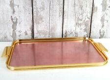 More details for vintage woodmet anodised aluminium serving coctail tray rose pink gold retro