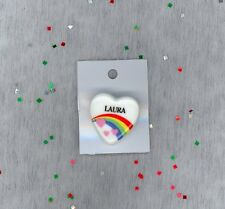 Rainbow & Hearts Fashion Pin Brooch Personalized LAURA - Gift - Stocking Stuffer