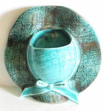 "Vintage Aqua Ceramic Sun Bonnet Hat Wall Pocket Planter Ceramic 7"" FREE SH"