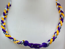 "NEW 20"" Custom Clasp Braided Sports Purple Yellow White Tornado Necklace Twisted"