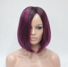 Fashion Angled Bob Wig Dark Root Midnight Berry kanekalon Fiber Sexy Deep Purple