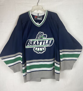 Nike Seattle Thunderbirds WHL Western Hockey League Blue & White Jerseys Size M