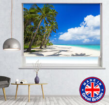 Tropical Beach Palm Trees Printed Picture Photo Roller Blind Blackout Remote
