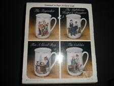 Vintage NIB Norman Rockwell Collector's Set 4 Mugs Trimmed in 24 Karat Gold