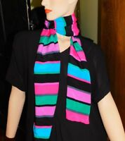 Vintage Multicolor Long Striped Scarf Pink Black Green Green Purple