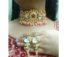 Indian Peach Color Kundan Necklace Party Wear Bridal Pearls Choker Jewelry Gift