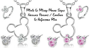 Disney Mickey Minnie Necklace, Ring & Earrings Jewellery -  Fast & Free Post