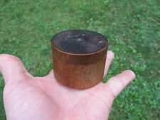 Small Miniature Antique Primitive Turned Wood Round Box with Lid