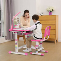 Kids Study Desk and Chair Set Height Adjustable Writing Table with Lamp Pink New