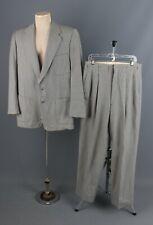 Vtg Men's 1950s Wool Houndstooth Suit Jacket Sz M Pants 32x31 50s Grey