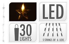 30 LED Sternenvorhang Lichterkette 0,9 x 1,2 m Sterne Warmweiß Lichtervorhang