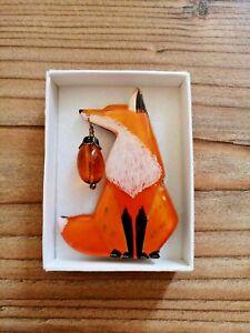 Fox finds a Acorn PIN BROOCH JPN Artist Animal Accessory