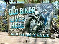 Old Biker Ride Vintage Metal Tin Sign Wall Decor Garage Man Cave Shop Fence Bar
