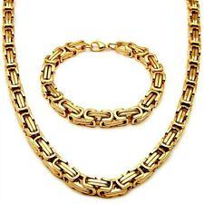 5mm/65cm Set BIZANTINO COLLAR + Pulsera Cadena Collar acero oro