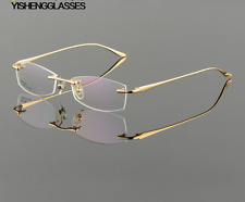 Luxury Rimless Eyeglasses Frames Men Eyewear Male RX able Glasses Fashion Gold