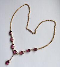 Edwardian 9ct 9k Rose Gold Almandine Garnet Necklace