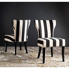 Safavieh En Vogue Dining Matty Black and White Striped Dining Chairs (Set of 2)