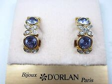 with Tanzanite Swarovski Crystals 0807 D'Orlan Gold Plated Clip-on Earrings made