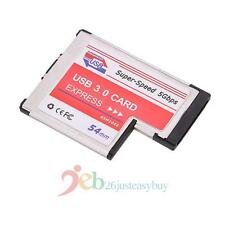 5Gbps USB 3.0 Expansion PCMCIA Express Card 54mm 2-Port Laptop NEC Chip Adapter