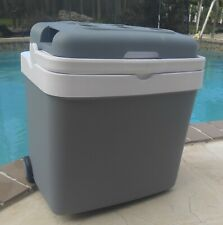NEW 34.8 Qt Car Travel Electric Cooler and Warmer retractable handle and wheels