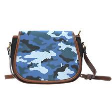 Blue Camouflage Leather Trim Saddle Bag Cross Body Zipper Bag Purse Gift