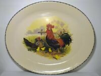 """Casey Pottery Marshall TX 13""""x11.5"""" Oval Platter Rooster and Hen Farmhouse-Rare"""