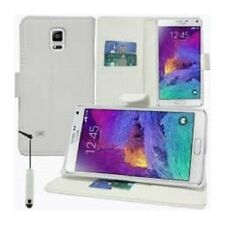 Housse Etui Coque Pochette Portefeuille Blanc pour Samsung Galaxy Note 4