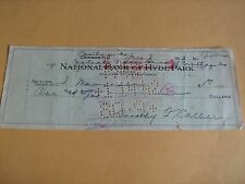 Vintage 1942 Canceled Check w/Handwritten Bank Name Change