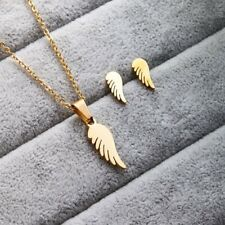 NEW Stainless Steel Jewelry Set Gold Angel Wing Pendant Chain Necklace Earrings